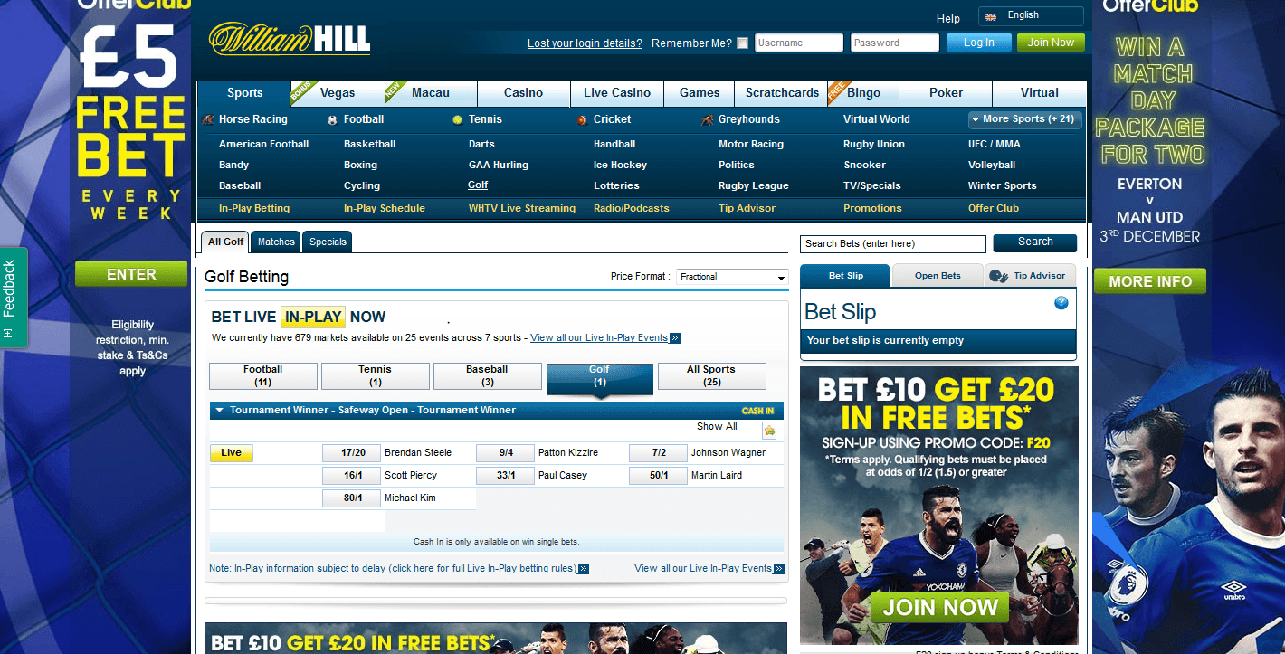 William Hill golf betting page